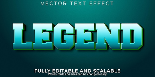Legend sport text effect, editable football and champion text style