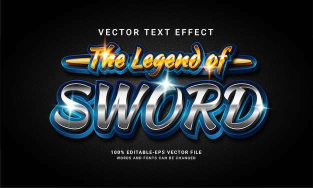 The legend of sword 3d editable text style effect