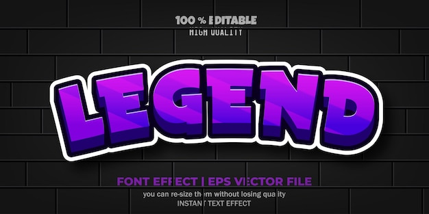 Легенда текстовый эффект редактируемый комикс и смешной стиль текста