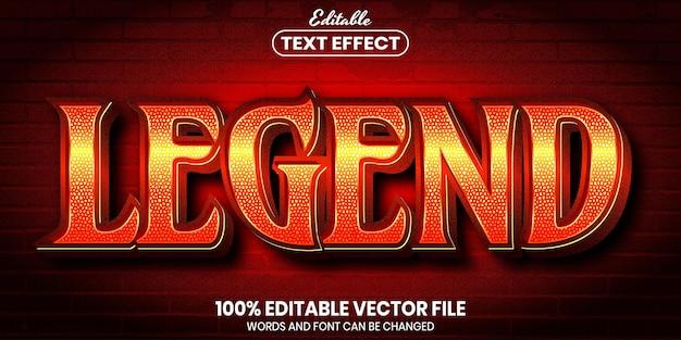 Legend text, font style editable text effect