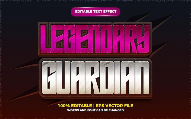 Legendary guardian editable text effect 3d template style