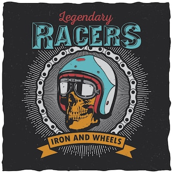 Legendary racers poster with words iron and wheels for design