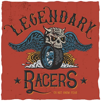 Legendary racers poster with words do not know fear
