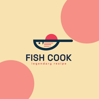 Legendary recipe for fish food processing, a combination of fish and pan and also a recipe symbol that is very perfect and looks elegant for a logo.