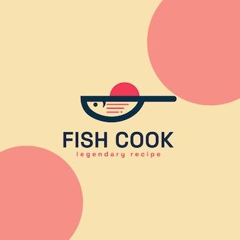 魚の食品加工の伝説的なレシピ、魚とフライパンの組み合わせ、そして非常に完璧でロゴとしてエレガントに見えるレシピシンボル。