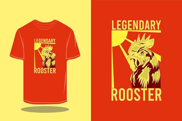 Legendary rooster silhouette retro t-shirt mockup design