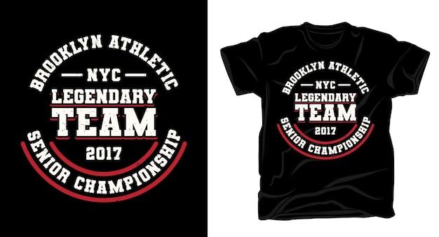Легендарный дизайн футболки типографики команды