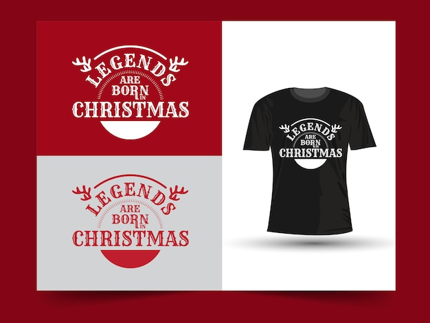 伝説はクリスマスの動機付けの引用符tシャツのデザインで生まれます