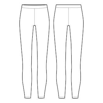Leggings pants fashion flat sketch template