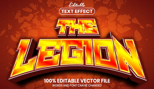 The legion text, font style editable text effect
