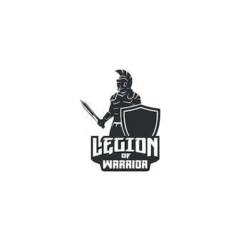 Legion of warrior with sword and shield logo