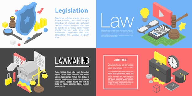Legislation banner set, isometric style