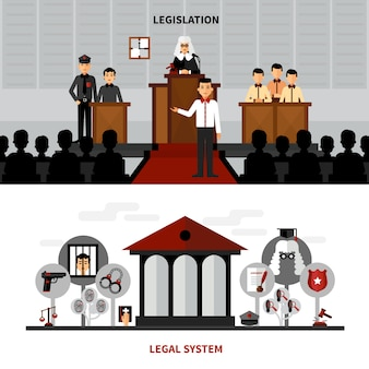 Legislation law 2 flat banners composition