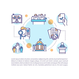 Legislative documents concept icon with text. elections. political rights and participation. ppt page  template. brochure, magazine, booklet  element with linear illustrations