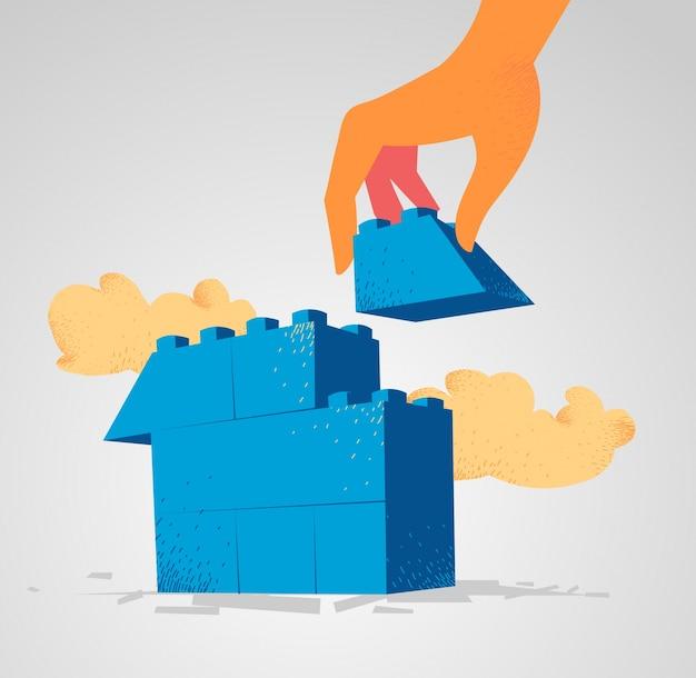 家を建てるために組み立てられるレゴブロック