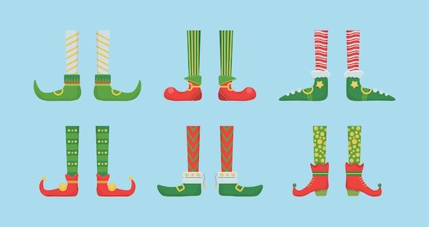 Ноги рождественский эльф в туфлях с бубенчиками