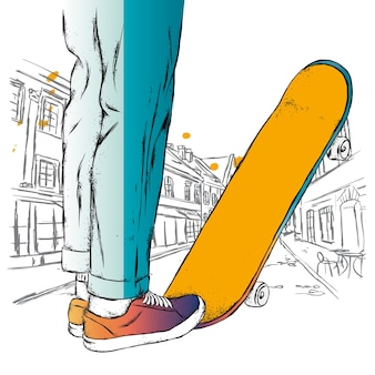운동화와 스케이트 보드의 다리.