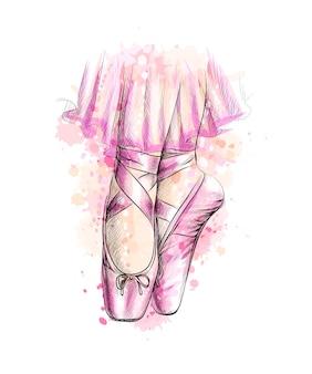 水彩のスプラッシュからバレエシューズのバレリーナの足