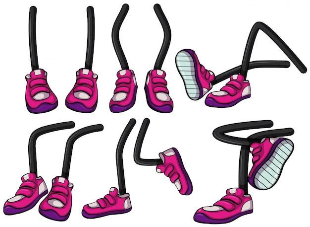 ピンクの靴を履いた脚