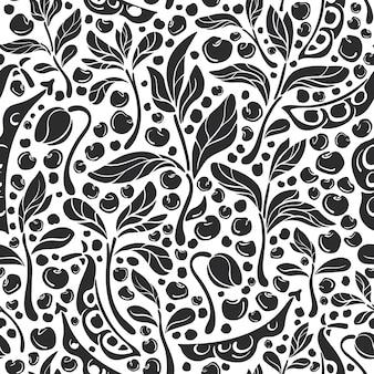 マメ科植物のシームレスなパターンもやし大豆レンズ豆アートグラフィックイラスト