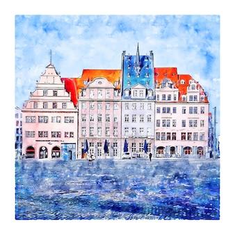라이프치히 독일 수채화 손으로 그린 그림