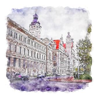 Leipzig germany watercolor sketch hand drawn illustration