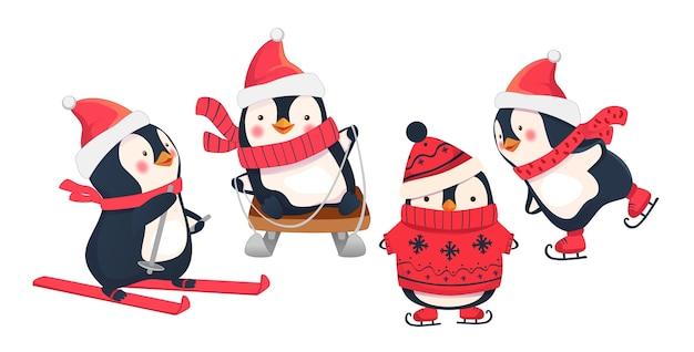 Активный отдых зимой. иллюстрация зимних видов спорта. пингвин