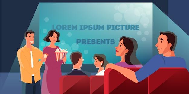 Досуг и развлечения. люди проводят время в общественном месте. женщина и мужчина в кинотеатре. пара с билетом и попкорном.