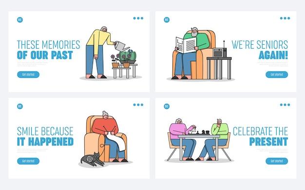 Leisure of elderly people in nursing home concept