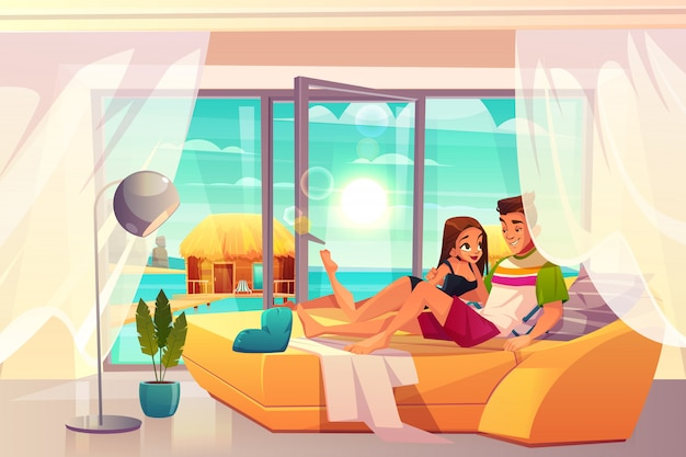 Leisure on luxury resort cartoon vector.