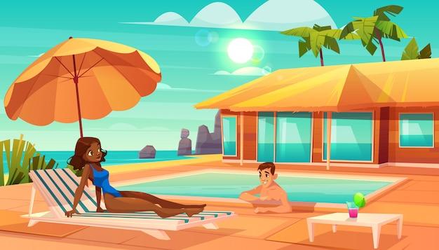 Отдых на тропический курорт мультфильм вектор.