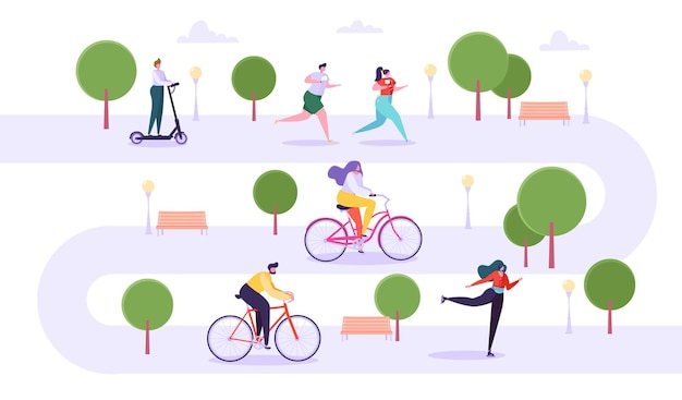 Leisure outdoor activities concept. active characters running in park, man and woman riding bicycle, girl roller skating, guy on kick scooter.