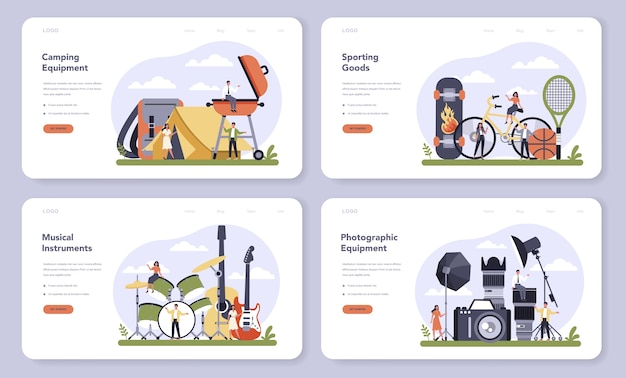 Leisure product production web banner or landing page set