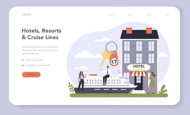경제 웹 템플릿 또는 방문 페이지의 레저 서비스 부문. 엔터테인먼트 산업. 호텔, 리조트 및 크루즈 라인. 편안한 아파트에서의 휴가 아이디어.