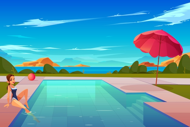 Leisure on summer vacation cartoon
