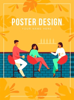 Leisure time in bar concept. happy people sitting at counter, drinking wine and beer in pub, talking and laughing.  illustration for alcohol, celebration, meeting with friends topics
