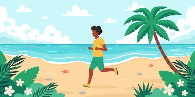 Leisure time on beach black man jogging