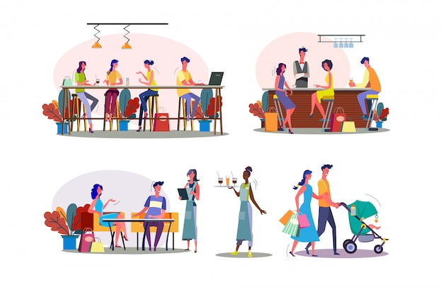 Leisure time together illustration set