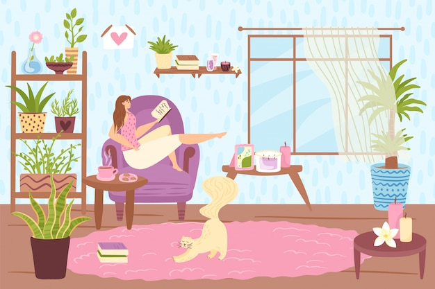 Leisure time, woman person read book at home,  illustration. young girl character relax at  sofa.  people rest lifestyle, cute hobby for  woman in cozy room interior.