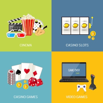 Leisure video sport and gambling casino games flat icons set isolated vector illustration