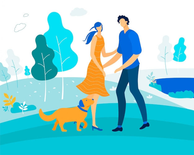 Leisure with pet, happy couple playing with dog