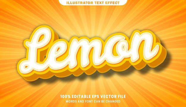 레몬 3d 편집 가능한 텍스트 스타일 효과