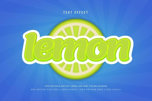 Lemon 3d text effect on blue background
