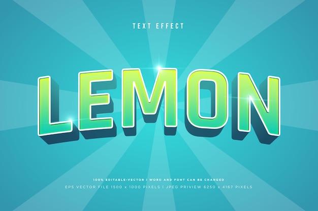 Lemon 3d text effect on tosca background