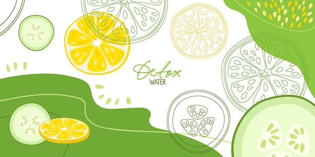 抽象的な背景にレモンとキュウリダイエットデトックス水のための新鮮な農場の野菜