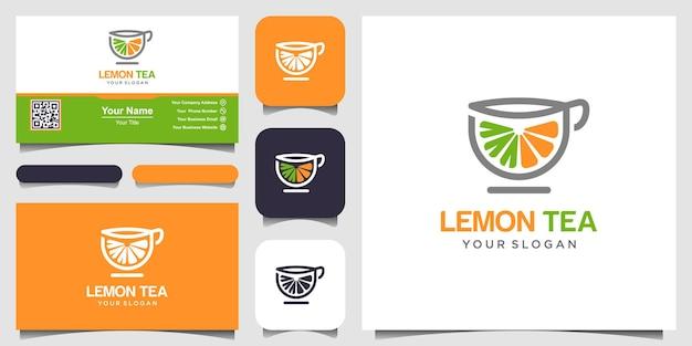 레몬과 차 컵 추상적인 벡터 로고와 명함 디자인