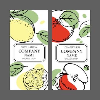 レモンアップルラベル Premiumベクター