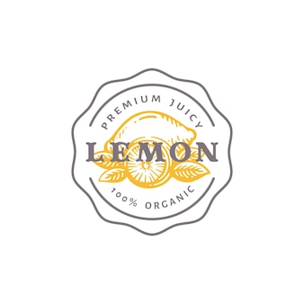 Lemon badge or logo template. hand drawn lemons with leaves sketch with retro typography and borders