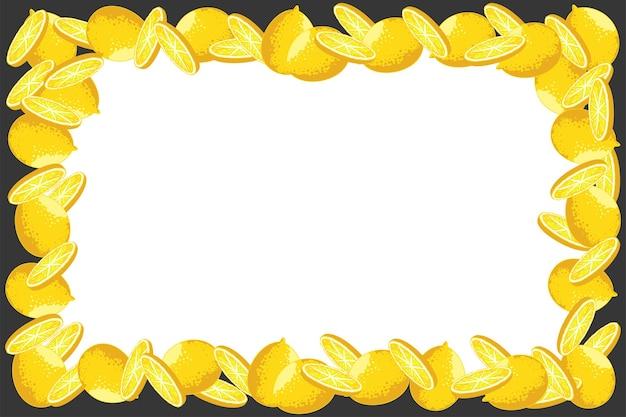 Lemon border, frame cartoon background.
