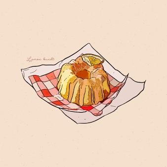 레몬 번트 케이크, 손으로 그리는 스케치.
